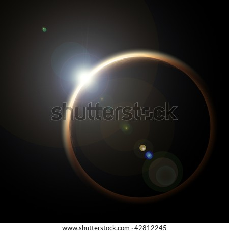 Phase of Solar eclipse called diamond ring - stock photo