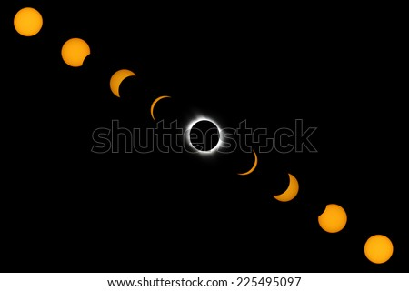 Phases of full solar eclipse. - stock photo