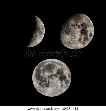 Phases of the Moon seen with telescope - stock photo