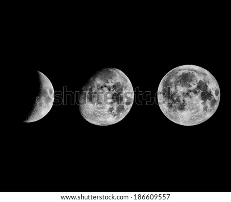 Phases of the Moon seen with telescope in black and white - stock photo