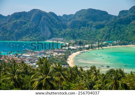 Phi Phi Don view point - Phi Phi island from above - stock photo