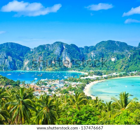 Phi-Phi island View tropical island with resorts -  Krabi Province thailand - stock photo