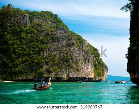 Phi Phi islands at Andaman sea - stock photo