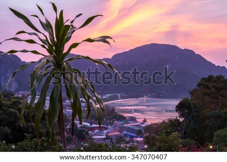 Phi-Phi Viewpoint, view over landscape of jungle and island - stock photo
