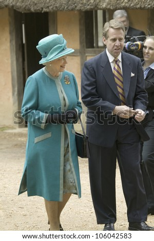Phil Emerson and Her Majesty Queen Elizabeth II visiting James Fort, Jamestown Settlement, Virginia on May 4, 2007, the 400th Anniversary of English establishment of 1607 Jamestown Colony, Virginia - stock photo