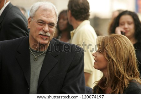 Phil Jackson and Jeanie Buss at the Ceremony Honoring Los Angeles Lakers Owner Jerry Buss with the 2,323rd star on the Hollywood Walk of Fame. Hollywood Boulevard, Hollywood, CA. 10-30-06 - stock photo