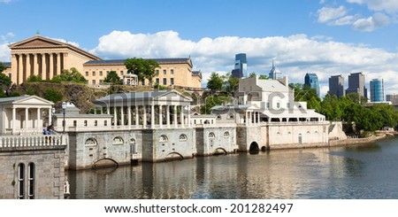 Philadelphia art museum waterfront - Pennsylvania - USA - stock photo