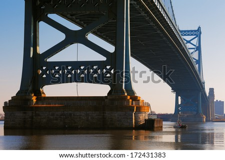 PHILADELPHIA - DEC 1: Ben Franklin bridge  on Dec 1, 2013 in Philadelphia, USA. Ben Franklin bridge links Philadelphia to New Jersey - stock photo