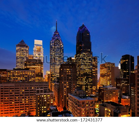 PHILADELPHIA - DEC 4: City of Philadelphia, skyline is beautifully lit up at dusk on Dec 4, 2013 in Philadelphia, USA. - stock photo