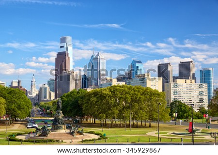 Philadelphia downtown skyline, Pennsylvania, United States - stock photo