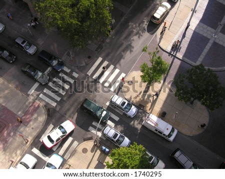Philadelphia intersection from above. - stock photo