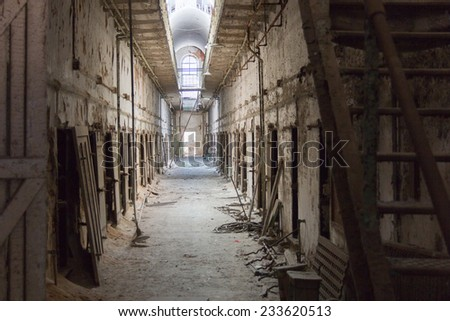 PHILADELPHIA, NOV. 15: Cell block at Eastern State Penitentiary Historic Site located in Philadelphia, PA as seen on November 15, 2014. - stock photo