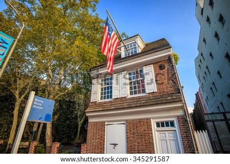 PHILADELPHIA - OCT 19: The historic Betsy Ross house tourism landmark with hanging American flag in Old City Philadelphia  on October 19, 2015. - stock photo