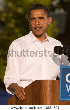 PHILADELPHIA - OCTOBER 11: Democratic Presidential nominee Senator Barack Obama speaks at a rally in Progress Plaza on October 11, 2008 in Philadelphia, Pennsylvania - stock photo