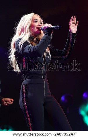 PHILADELPHIA, PA - December 10, 2014: Rita Ora performs at the Wells Fargo Center on December 10, 2014 in Philadelphia.  - stock photo