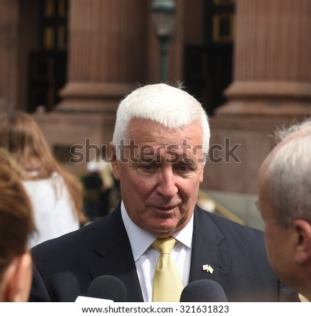 PHILADELPHIA, PA - SEPTEMBER 26 2015: Pope Francis celebrated mass at the Cathedral Basilica of Peter & Paul in downtown Philadelphia. Former Pennsylvania governor Tom Corbett - stock photo