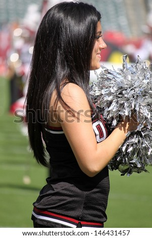 PHILADELPHIA, PA. - SEPTEMBER 8: Temple cheerleader during a game  against Maryland on September 8, 2012 at Lincoln Financial Field in Philadelphia, PA.  - stock photo