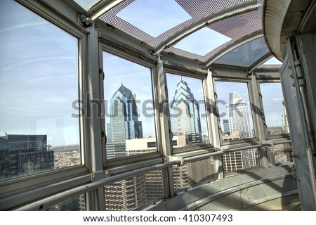 Philadelphia, Pa. USA, April 21, 2016: Philadelphia skyline from the City Hall observatory. April 21, 2016 in Philadelphia, Pa, USA. - stock photo