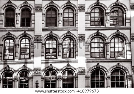 Philadelphia, Pa. USA, April 21, 2016: round windows with reflections at the Lit Brothers old department store in Philadelphia. April 21, 2016 in Philadelphia, Pa. USA - stock photo