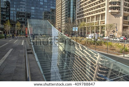 Philadelphia, Pa. USA. April 21, 2016: subway station entrance at City Hall. April 21, 2016 in Philadelphia, Pa, USA. - stock photo