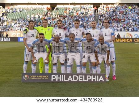 Philadelphia, PA USA - June 9, 2016: Team Uruguay poses before Copa America Centenario game against Venezuela. Venezuela won 1 - 0 - stock photo