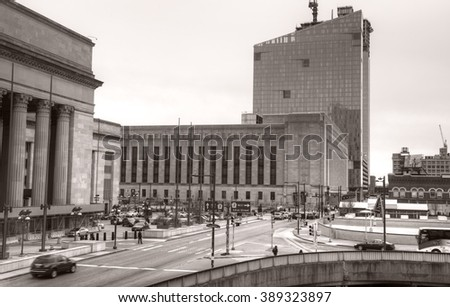 Philadelphia, Pa. USA, March 5, 2016: 30th Street Station area in Philadelphia. March 5, 2016 in Philadelphia, Pa. USA. - stock photo