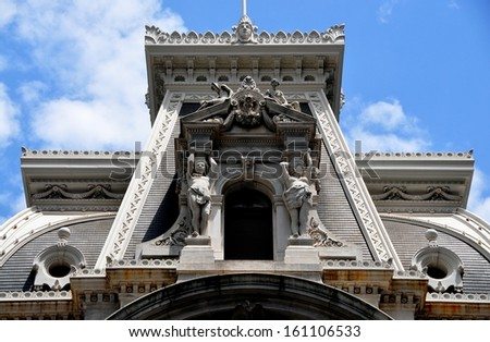 PHILADELPHIA, PENNSYLVANIA:  Beaux Arts statues decorate the exterior of Philadelphia City Hall built between 1871-1901 at a cost of $24 million - stock photo