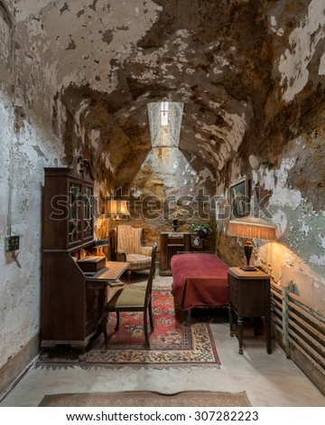 PHILADELPHIA, PENNSYLVANIA - JULY 21: Al Capone's cell at the Eastern State Penitentiary (1829) on Fairmount Avenue on July 21, 2015 in Philadelphia, Pennsylvania - stock photo