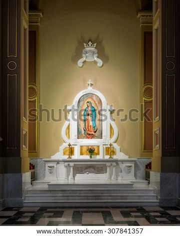 PHILADELPHIA, PENNSYLVANIA - JULY 21: Shrine to Our Lady of Guadalupe inside the Cathedral Basilica of Saints Peter and Paul on July 21, 2015 in Philadelphia, Pennsylvania - stock photo