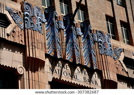 Philadelphia, Pennsylvania - June 25, 2013:  Art Deco facade of the Market Street National Bank at 14th Street - stock photo