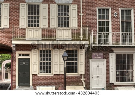 Philadelphia, Pennsylvania, USA, June 5th,2016: Ben Franklin printing press shop in colonial Philadelphia. June 5th, 2016 in Philadelphia, Pa. USA. - stock photo