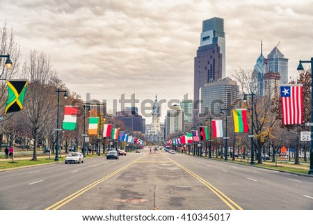 Philadelphia's downtown and City Hall building  - stock photo