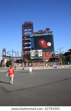 PHILADELPHIA - SEPTEMBER 7: Fans gather at Citizens Bank Park, home of the Phillies, on September 7, 2010 in Philadelphia. This baseball only stadium opened in 2004, replacing Veterans Stadium. - stock photo