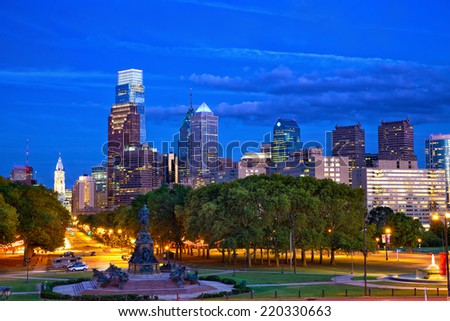 Philadelphia skyline at dusk, Pennsylvania, USA - stock photo