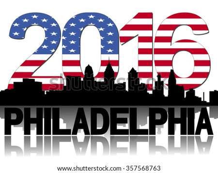 Philadelphia skyline 2016 flag text illustration - stock photo