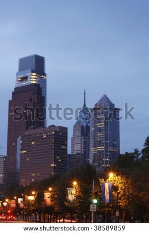 Philadelphia Skyline from Ben Franklin Parkway - stock photo