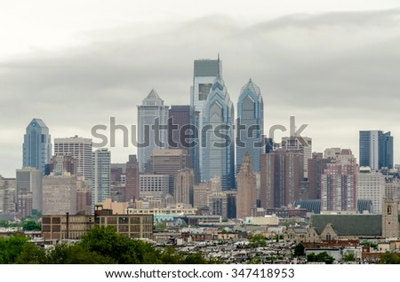 Philadelphia Skyline on a foggy daylight - stock photo