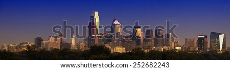 Philadelphia Skyline panorama Twilight - stock photo