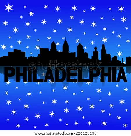 Philadelphia skyline reflected with snow illustration - stock photo