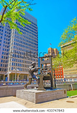 Philadelphia - USA - May 4, 2015: Benjamin Franklin Craftsman sculpture at Municipal Services Building of Philadelphia, Pennsylvania, USA. It is central business district in Philadelphia. - stock photo