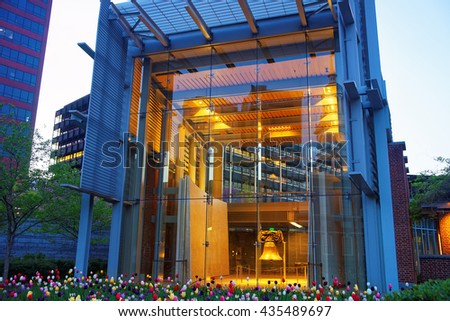Philadelphia, USA - May 3, 2015: Liberty Bell viewed from Independence National Historical Park in the evening. It is the place where the US Constitution and Declaration of Independence were adopted. - stock photo