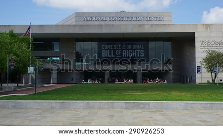 "Philadelphia, USA - May 10: National Constitution Center, located on Independence mall in Philadelphia, Pennsylvania, where one can see the original ""Bill of Rights,"" as seen on May 10, 2015. - stock photo"