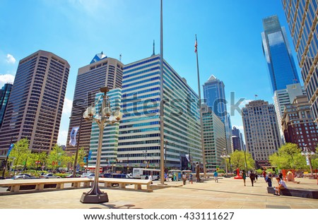 Philadelphia, USA - May 4, 2015: Penn Center and skyline with skyscrapers in Philadelphia, Pennsylvania, USA. It is central business district in Philadelphia. - stock photo