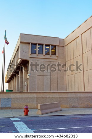 Philadelphia, USA - May 5, 2015: United States Mint Building in Philadelphia PA, Pennsylvania, the USA - stock photo