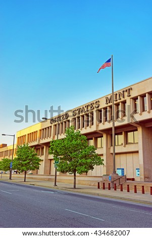Philadelphia, USA - May 5, 2015: United States Mint in Philadelphia PA, Pennsylvania, the USA - stock photo