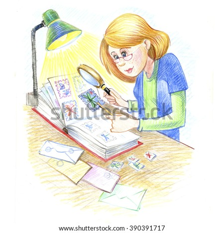 Philatelist, the study of stamps, magnifying glass, lamp..Drawn with colored pencils, drawing by hands. - stock photo