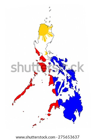 philippines country flag map shape national symbol - stock photo