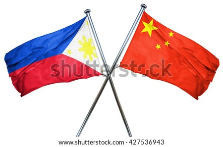 Philippines flag  combined with china flag - stock photo