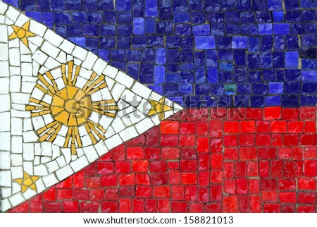 Philippines Flag in Mosaic - stock photo