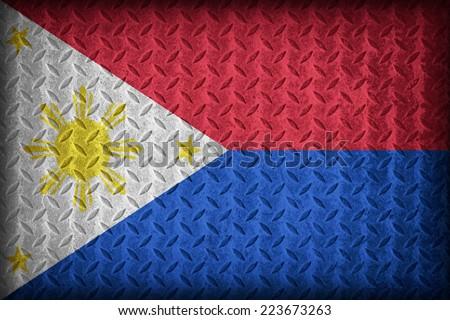 Philippines flag pattern on the diamond metal plate texture ,vintage style - stock photo